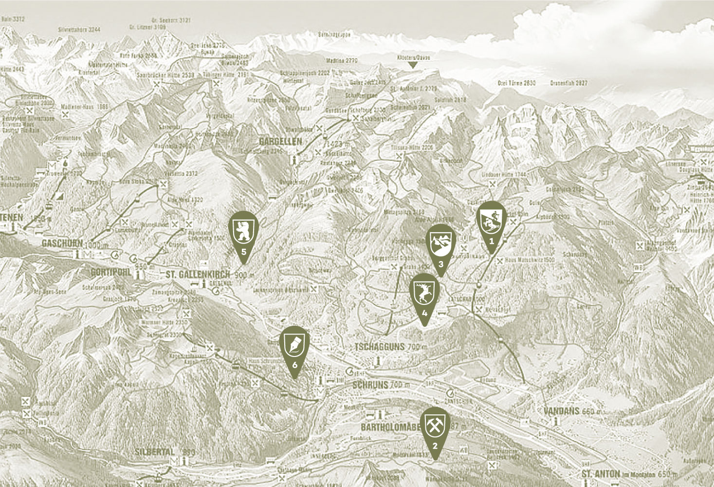 Montafon map mountain lodge