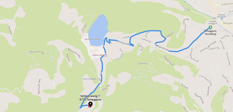 Mountain lodge Gauertal in the Montafon - route
