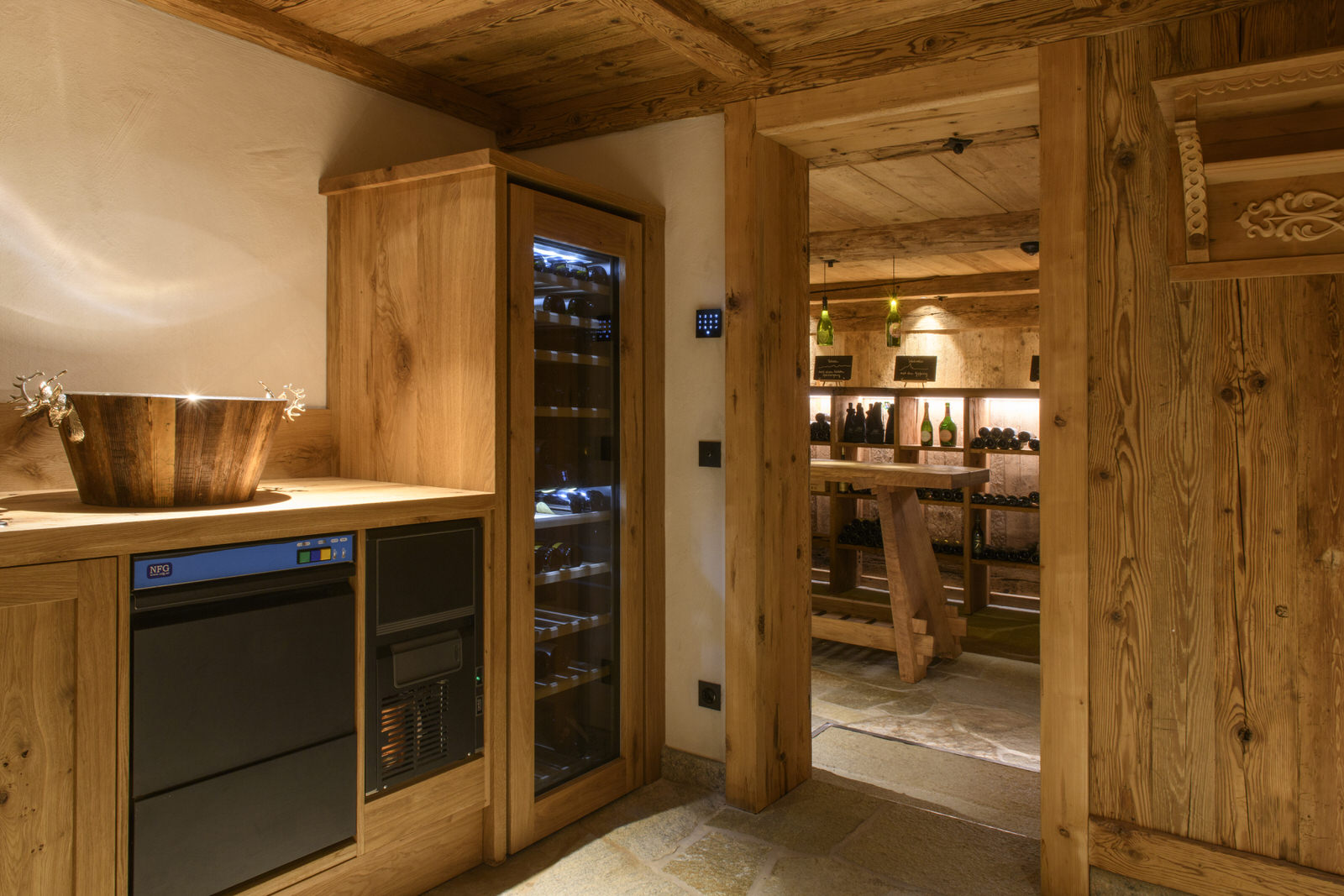 Exclusive mountain lodge Gauertal Montafon - anteroom wine cellar