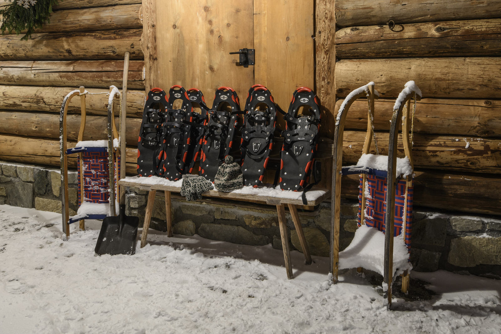 Exclusive mountain lodge Gauertal Montafon - snowshoes