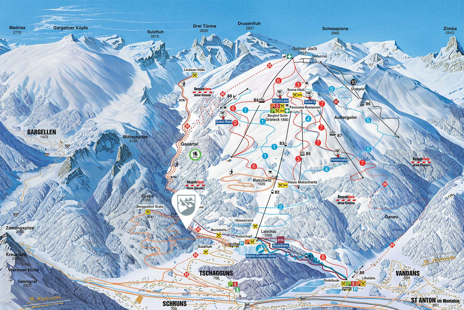 Exclusive mountain lodge Gauertal - winter site map
