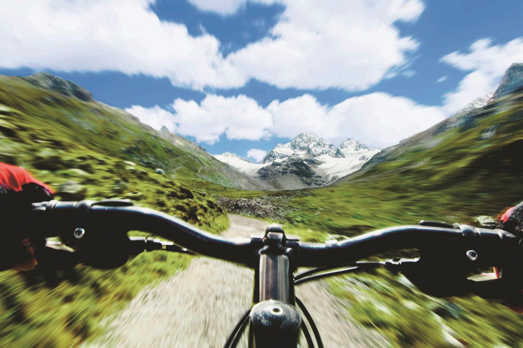 Mountain lodge Gauertal in the Montafon in summer - biken