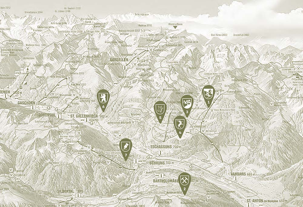 Montafon map mountain lodges