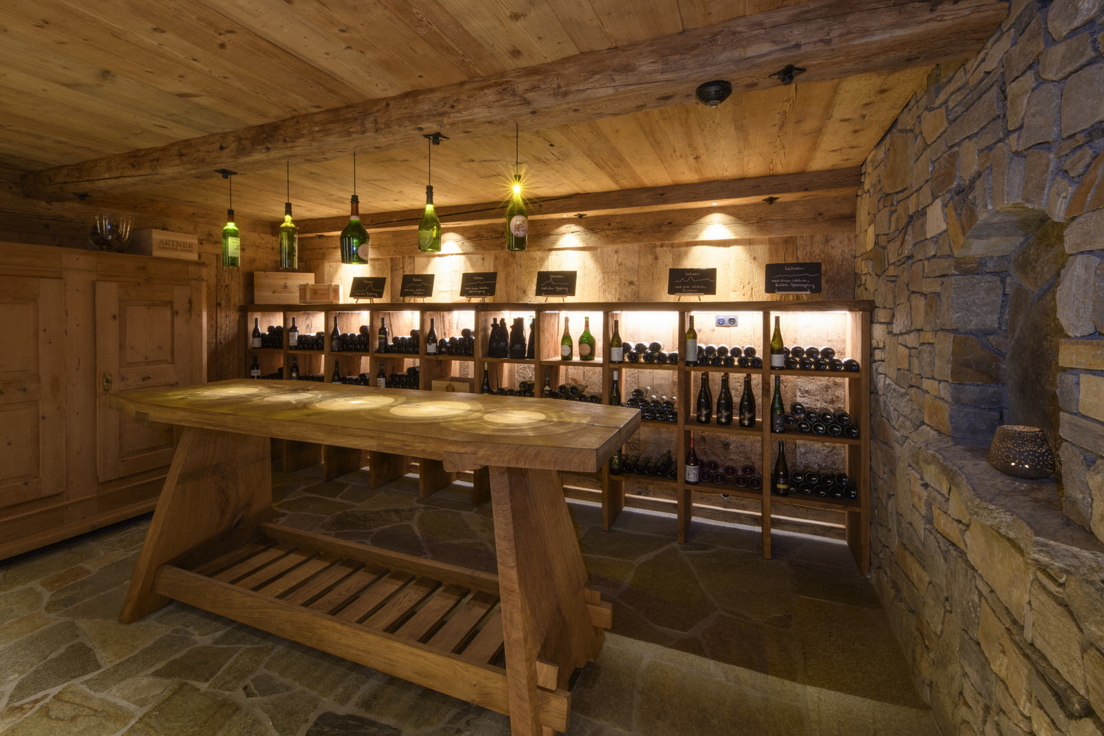 Exclusive mountain lodge Gauertal Montafon - wine cellar