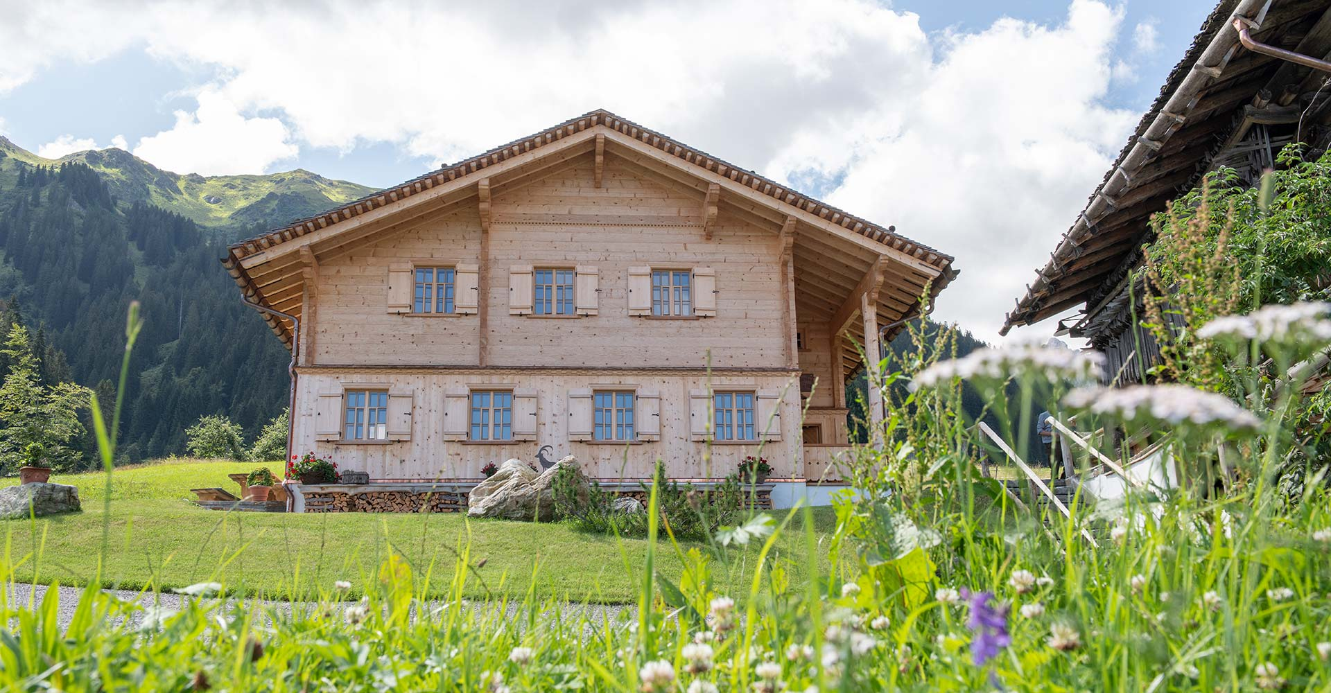Exclusive mountain lodge Gauertal in the Montafon in summer