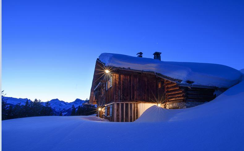 Mountain house Bartholomäberg winter blue hour