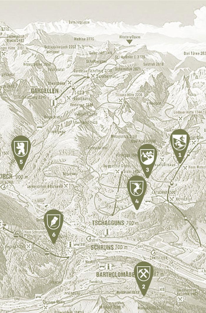 Montafon Lageplan Berghäuser